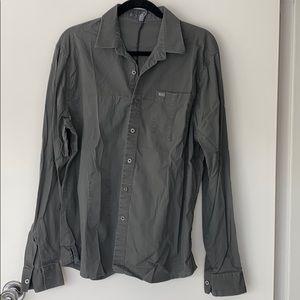 RVCA gray button down dress shirt